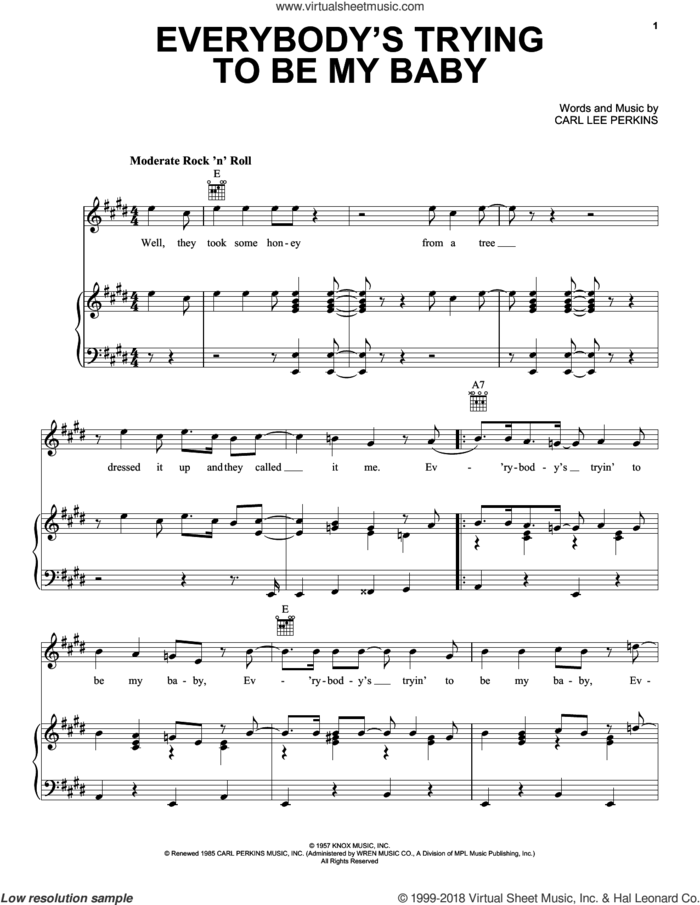 Everybody's Trying To Be My Baby sheet music for voice, piano or guitar by The Beatles and Carl Perkins, intermediate skill level