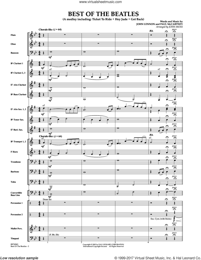 Best of the Beatles (COMPLETE) sheet music for concert band by John Moss, intermediate skill level