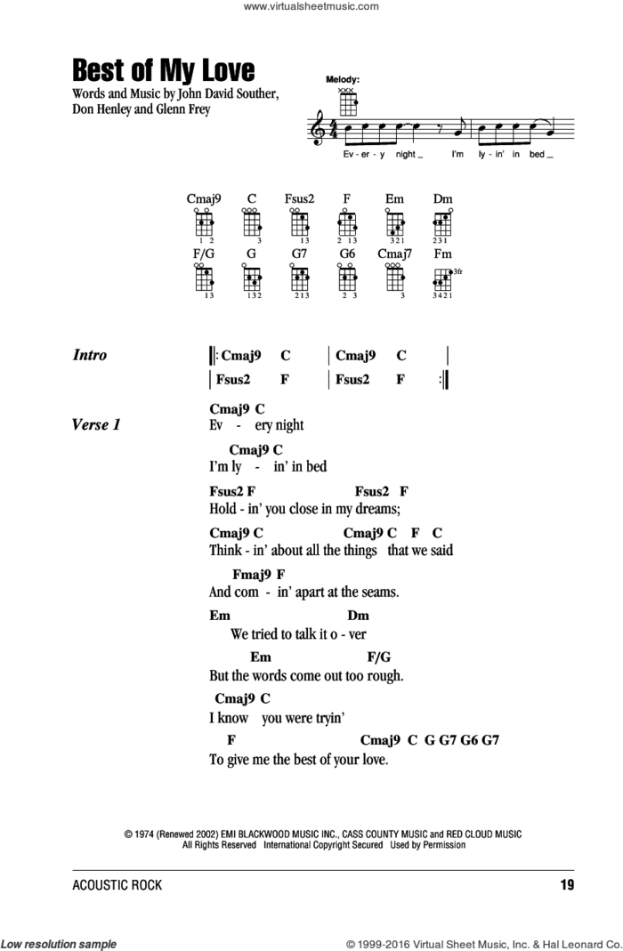 Best Of My Love sheet music for ukulele (chords) by Don Henley, The Eagles, Glenn Frey and John David Souther, intermediate skill level