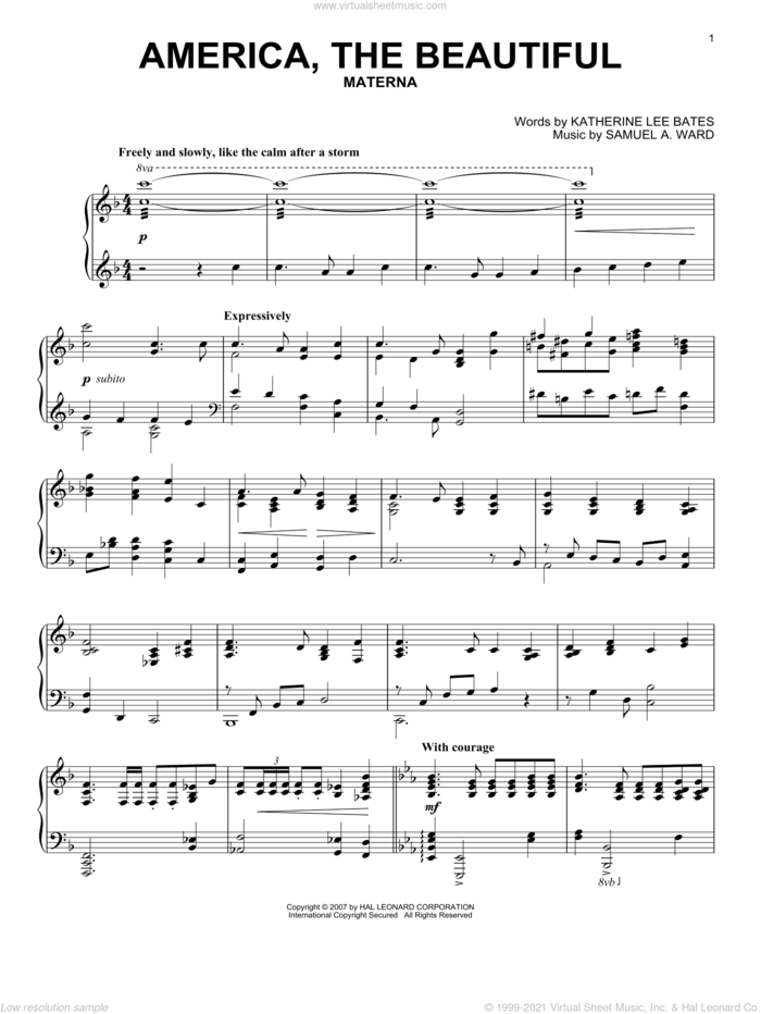 America, The Beautiful sheet music for piano solo by Samuel Augustus Ward, Katharine Bates and Katherine Lee Bates, intermediate skill level