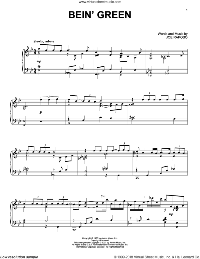 Bein' Green sheet music for piano solo by Kermit The Frog, Frank Sinatra and Joe Raposo, intermediate skill level