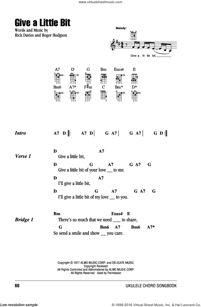 Give A Little Bit sheet music for ukulele (chords) by Supertramp, Goo Goo Dolls, Rick Davies and Roger Hodgson, intermediate skill level