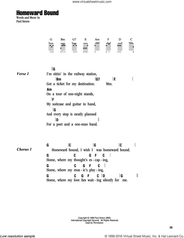 Homeward Bound sheet music for ukulele (chords) by Simon & Garfunkel and Paul Simon, intermediate skill level