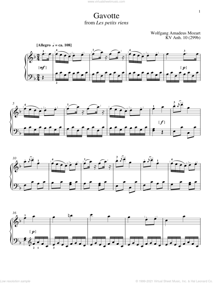 Gavotte sheet music for piano solo by Wolfgang Amadeus Mozart, classical score, intermediate skill level