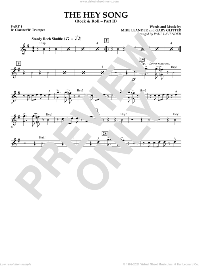 The Hey Song (Rock and Roll Part II) (Flex-Band) sheet music for concert band (Bb clarinet/bb trumpet) by Gary Glitter, Paul Lavender and Mike Leander, intermediate skill level