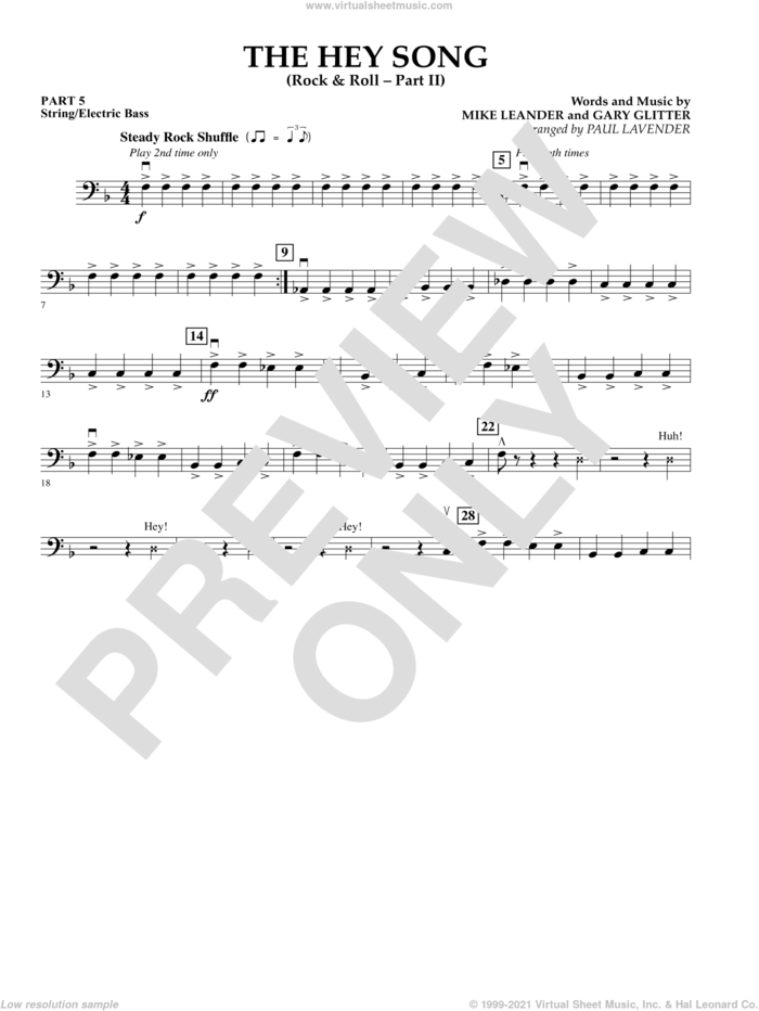 The Hey Song (Rock and Roll Part II) (Flex-Band) sheet music for concert band (string/electric bass) by Gary Glitter, Paul Lavender and Mike Leander, intermediate skill level