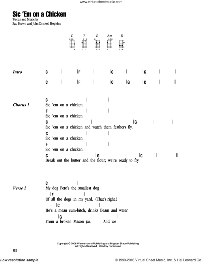 Sic 'Em On A Chicken sheet music for ukulele (chords) by Zac Brown Band and John Driskell Hopkins, intermediate skill level