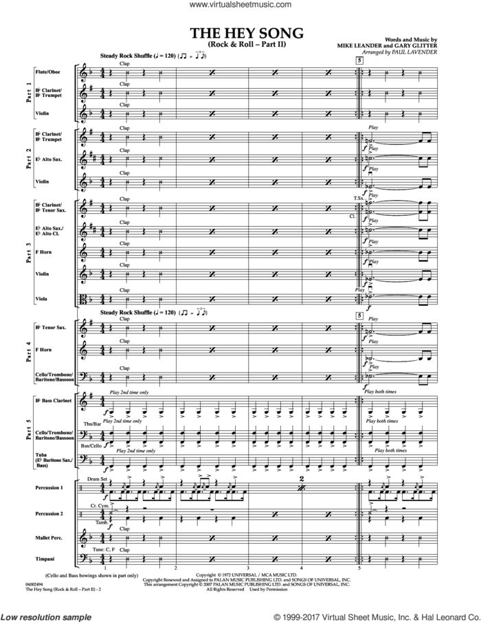 The Hey Song (Rock and Roll-part II) (Flex-Band) (COMPLETE) sheet music for concert band by Paul Lavender, Gary Glitter and Mike Leander, intermediate skill level