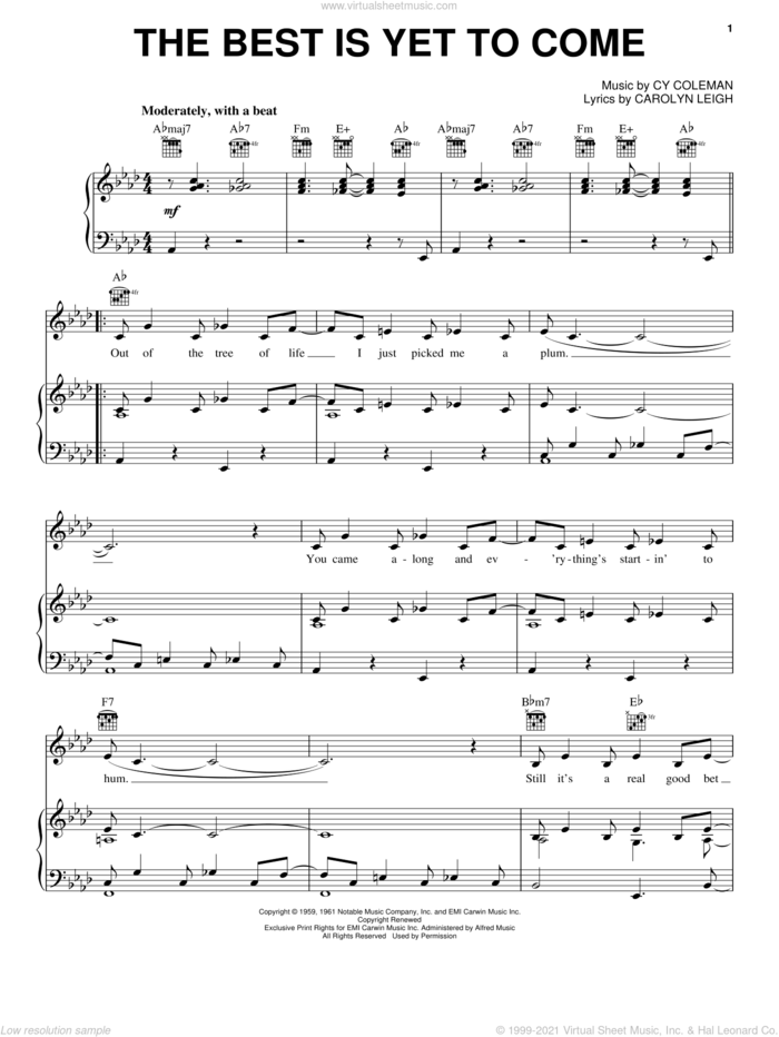 The Best Is Yet To Come sheet music for voice, piano or guitar by Frank Sinatra, Tony Bennett, Carolyn Leigh and Cy Coleman, intermediate skill level