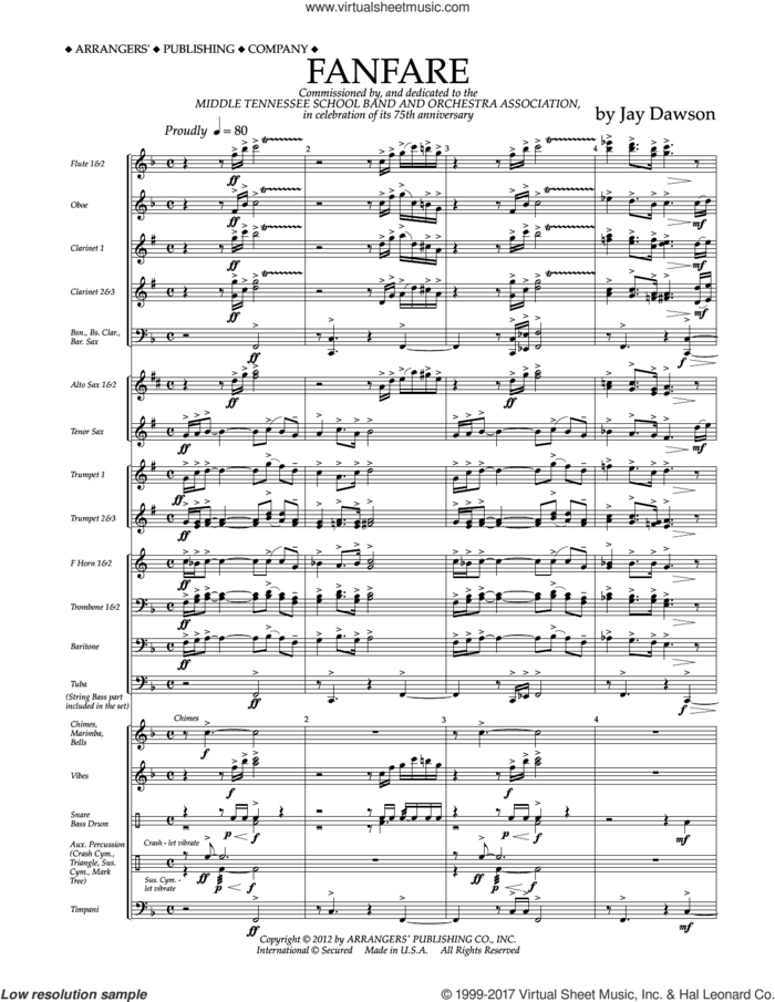 Fanfare (COMPLETE) sheet music for concert band by Jay Dawson, intermediate skill level