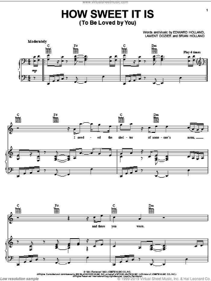 How Sweet It Is (To Be Loved By You) sheet music for voice, piano or guitar by Michael McDonald, James Taylor, Marvin Gaye, Brian Holland, Eddie Holland and Lamont Dozier, intermediate skill level