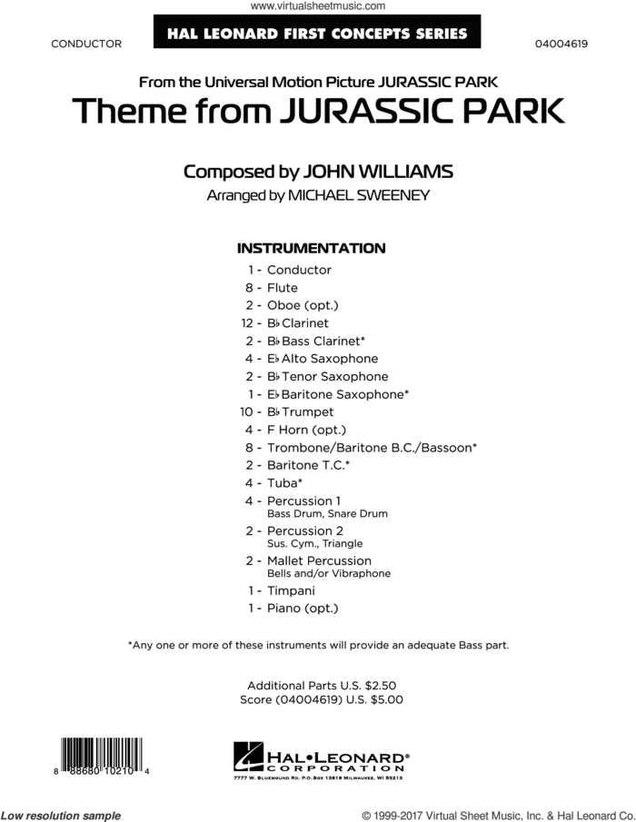 Theme from Jurassic Park (COMPLETE) sheet music for concert band by John Williams and Michael Sweeney, classical score, intermediate skill level