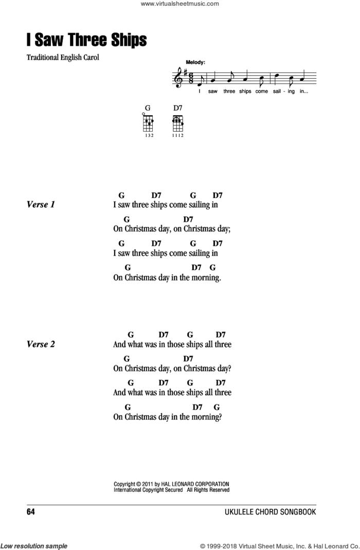 I Saw Three Ships sheet music for ukulele (chords), intermediate skill level