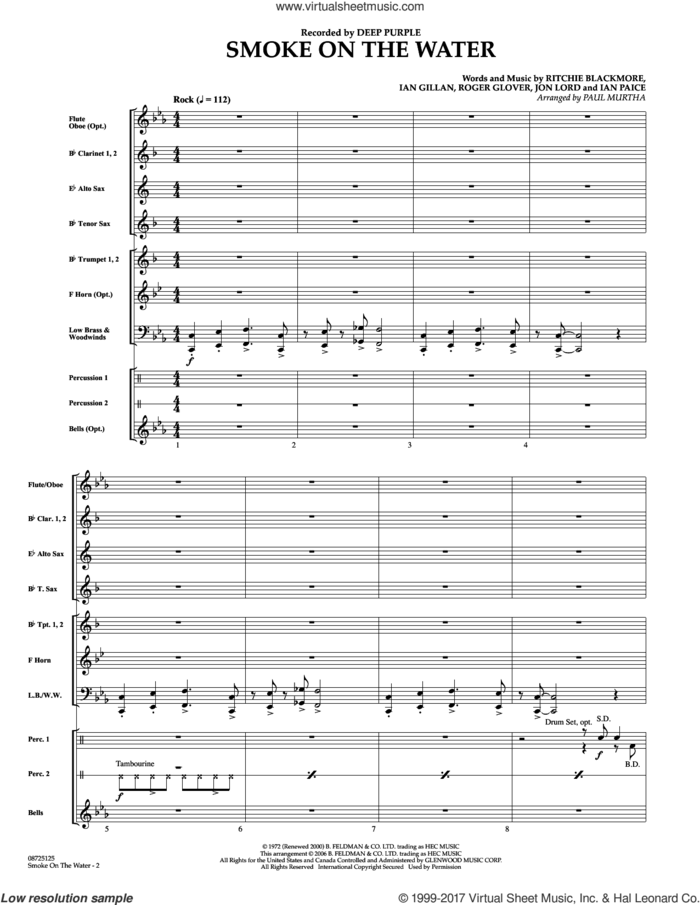 Smoke on the Water (COMPLETE) sheet music for concert band by Paul Murtha, Deep Purple, Ian Gillan, Ian Paice, Jon Lord, Ritchie Blackmore and Roger Glover, intermediate skill level