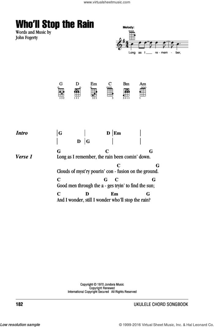 Who'll Stop The Rain sheet music for ukulele (chords) by Creedence Clearwater Revival and John Fogerty, intermediate skill level
