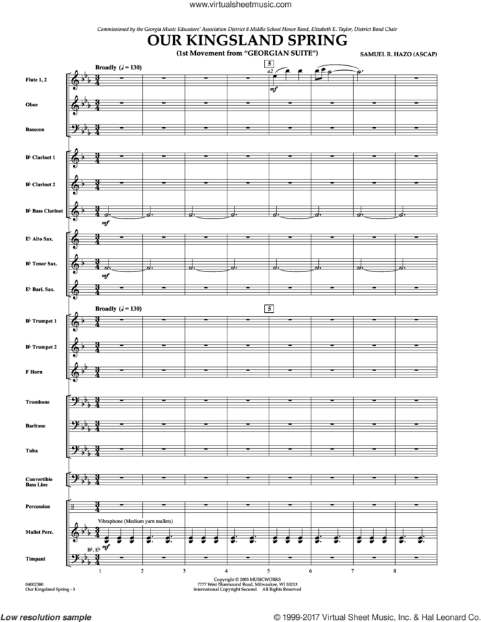 Our Kingsland Spring (Movement I of 'Georgian Suite') (COMPLETE) sheet music for concert band by Samuel R. Hazo, classical score, intermediate skill level