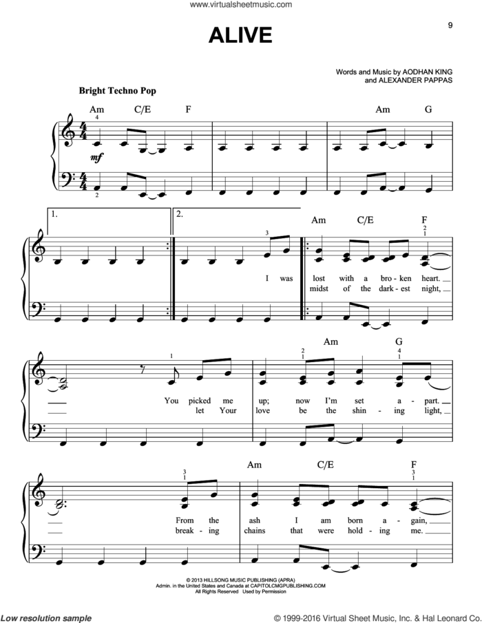 Alive sheet music for piano solo by Hillsong Young & Free, Alexander Pappas and Aodhan King, easy skill level