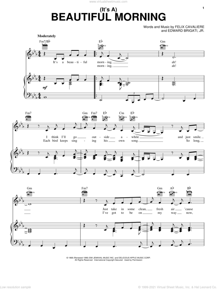 (It's A) Beautiful Morning sheet music for voice, piano or guitar by The Rascals, Edward Brigati, Jr. and Felix Cavaliere, intermediate skill level