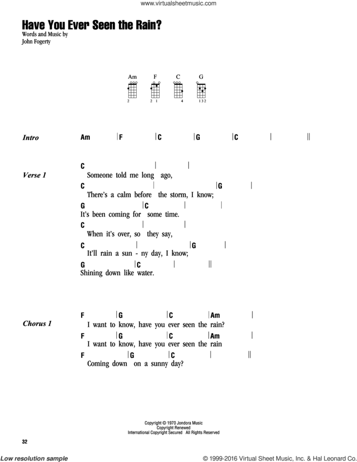 Have You Ever Seen The Rain? sheet music for ukulele (chords) by Creedence Clearwater Revival and John Fogerty, intermediate skill level