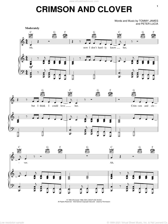 Crimson And Clover sheet music for voice, piano or guitar by Tommy James And The Shondells, Joan Jett, Peter Lucia and Tommy James, intermediate skill level