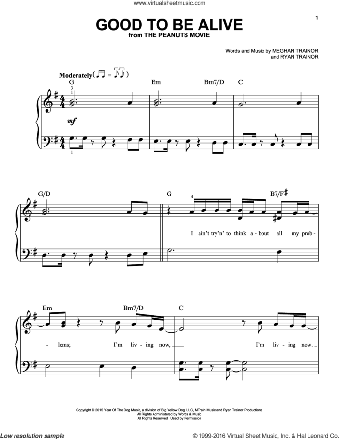 Good To Be Alive sheet music for piano solo by Meghan Trainor and Ryan Trainor, easy skill level