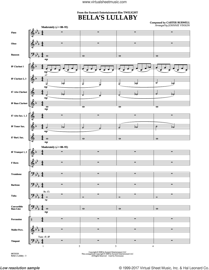 Bella's Lullaby (from The Movie 'twilight') (COMPLETE) sheet music for concert band by Johnnie Vinson and Carter Burwell, intermediate skill level