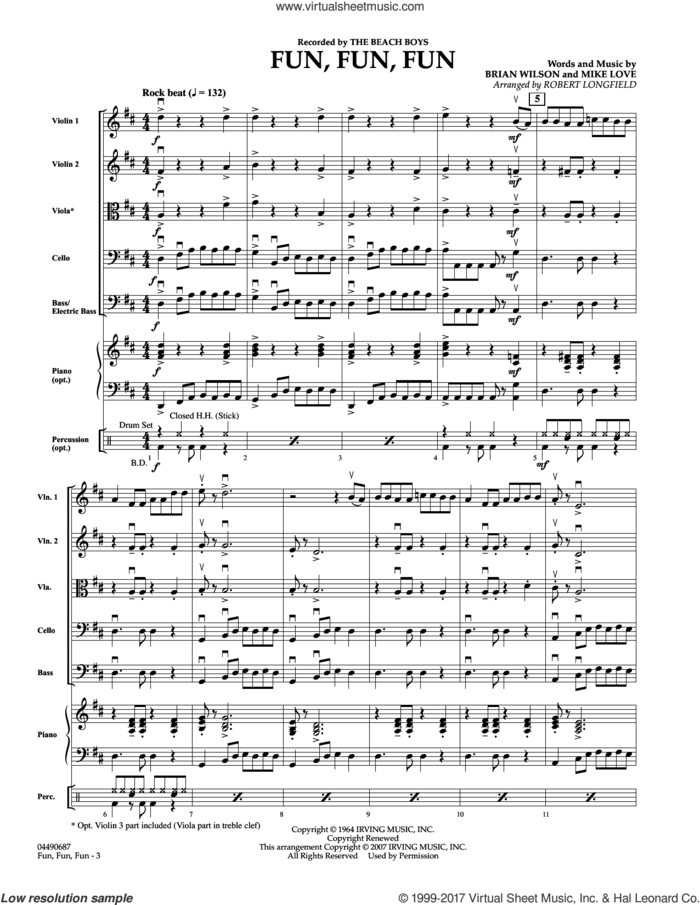 Fun, Fun, Fun (COMPLETE) sheet music for orchestra by The Beach Boys, Brian Wilson, Mike Love and Robert Longfield, intermediate skill level