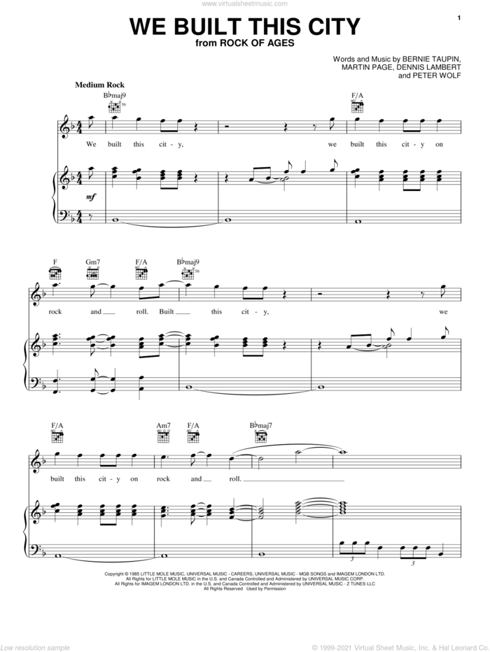 We Built This City sheet music for voice, piano or guitar by Starship, Rock Of Ages (Musical), Bernie Taupin, Dennis Lambert, Martin George Page and Peter Wolf, intermediate skill level