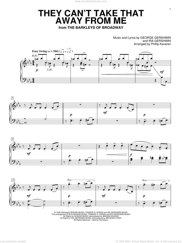 They Can't Take That Away From Me sheet music for piano solo by George Gershwin, Phillip Keveren, Frank Sinatra and Ira Gershwin, intermediate skill level