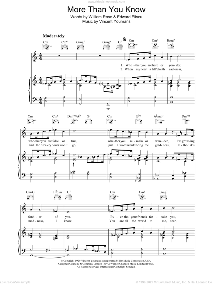 More Than You Know sheet music for voice, piano or guitar by Barbra Streisand, Helen Morgan, Edward Eliscu, Vincent Youmans and William Rose, intermediate skill level