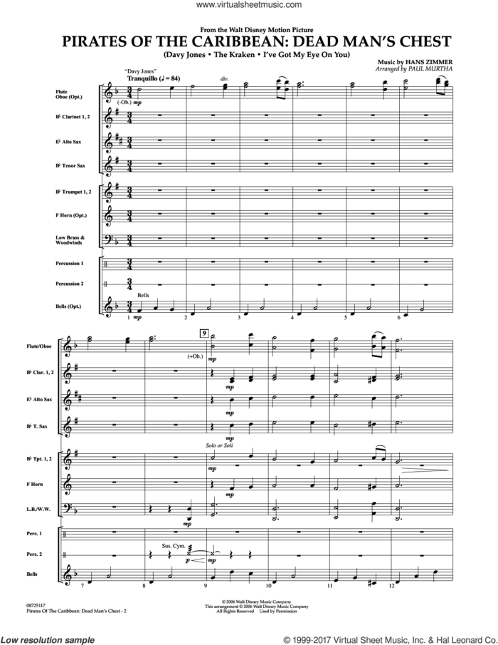 Pirates of the Caribbean: Dead Man's Chest (COMPLETE) sheet music for concert band by Paul Murtha and Hans Zimmer, intermediate skill level