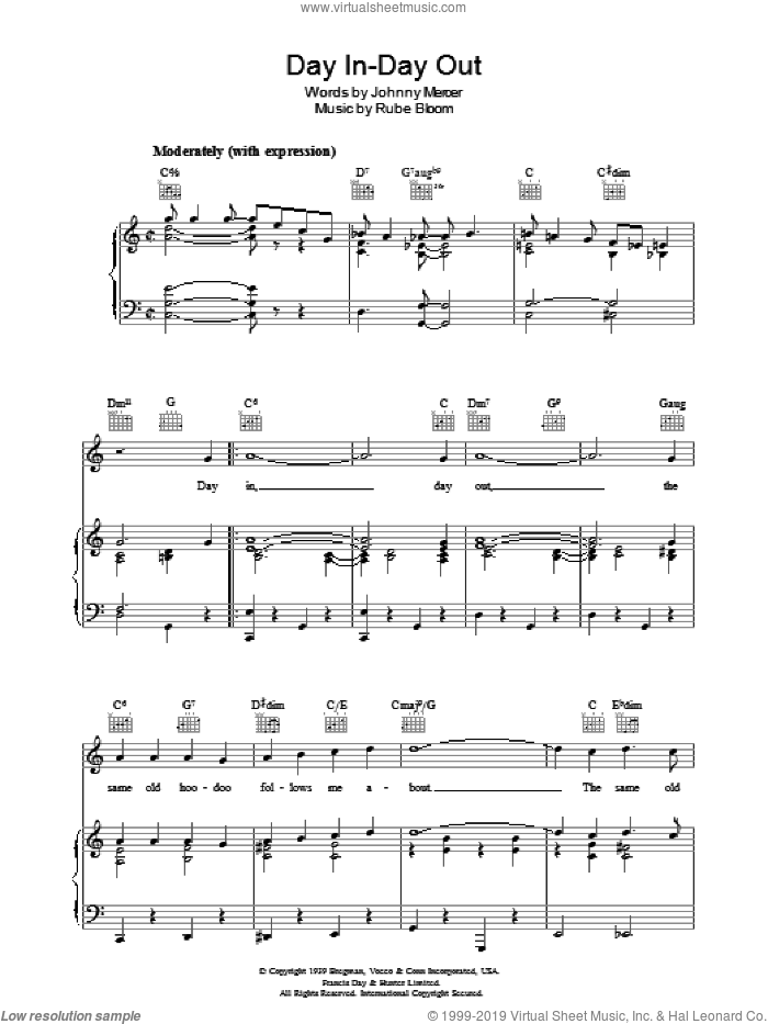 Day In, Day Out sheet music for voice, piano or guitar by Johnny Mercer and Rube Bloom, intermediate skill level