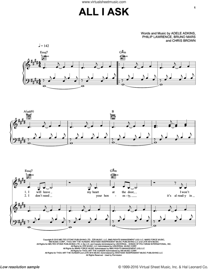All I Ask sheet music for voice, piano or guitar by Adele, Adele Adkins, Bruno Mars, Chris Brown and Philip Lawrence, intermediate skill level
