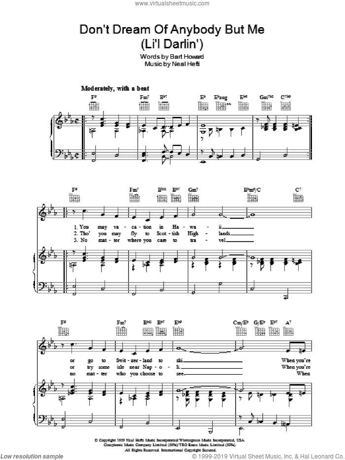Don't Dream Of Anybody But Me (Li'l Darlin') sheet music for voice, piano or guitar by Neal Hefti and Bart Howard, intermediate skill level