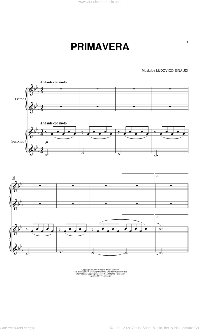Primavera sheet music for piano four hands by Ludovico Einaudi, classical score, intermediate skill level