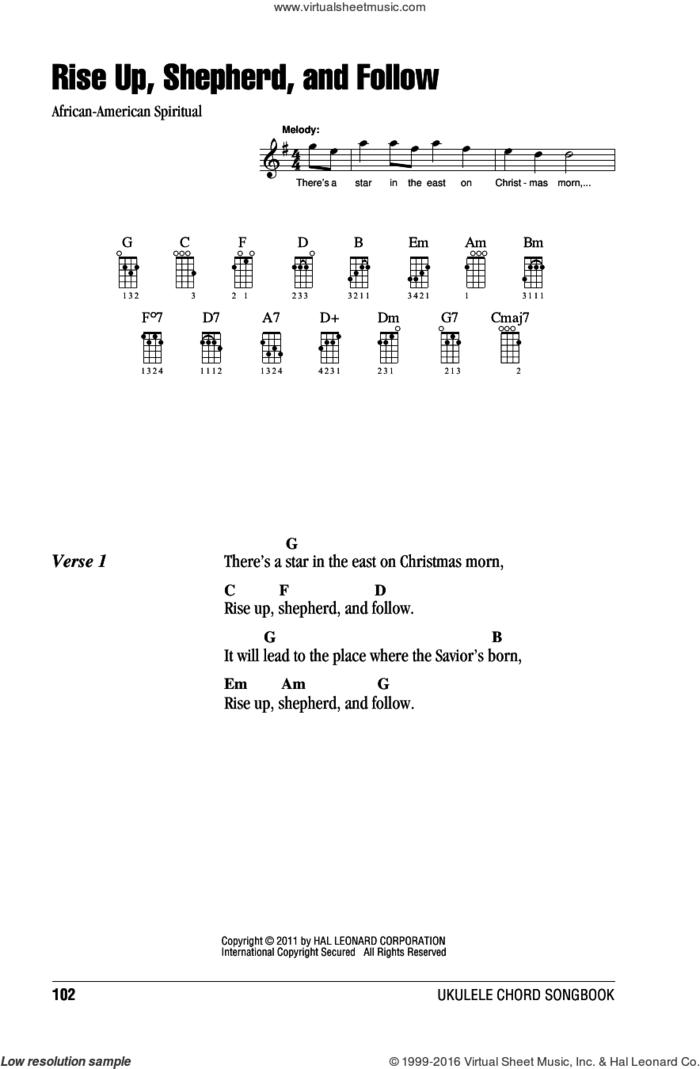 Rise Up, Shepherd, And Follow sheet music for ukulele (chords), intermediate skill level