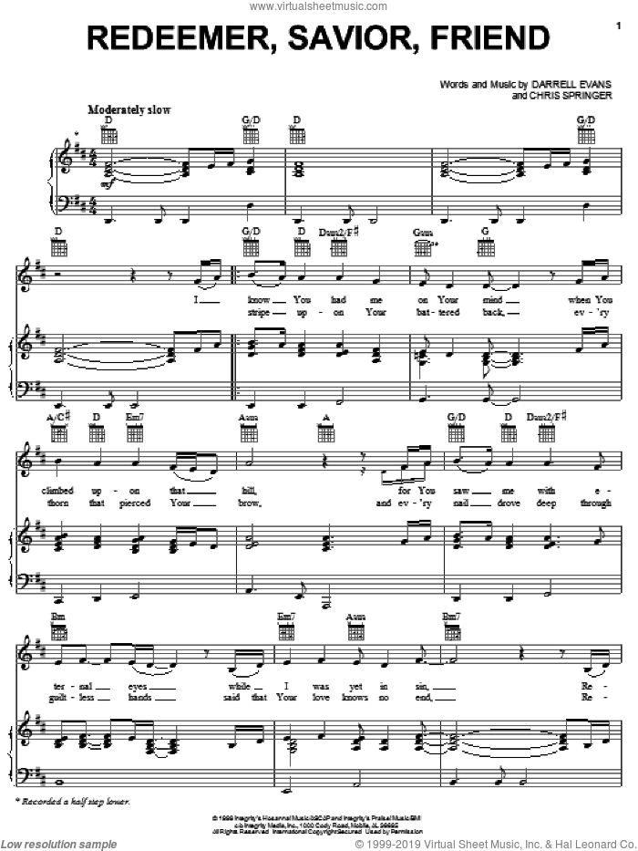 Redeemer, Savior, Friend sheet music for voice, piano or guitar by Darrell Evans and Chris Springer, intermediate skill level