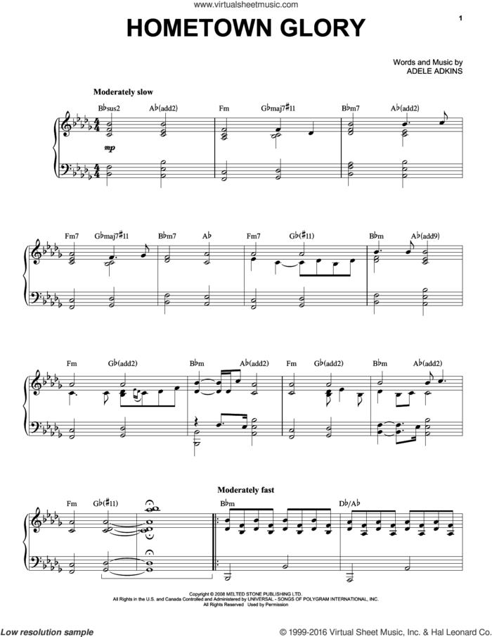 Hometown Glory sheet music for voice and piano by Adele and Adele Adkins, intermediate skill level