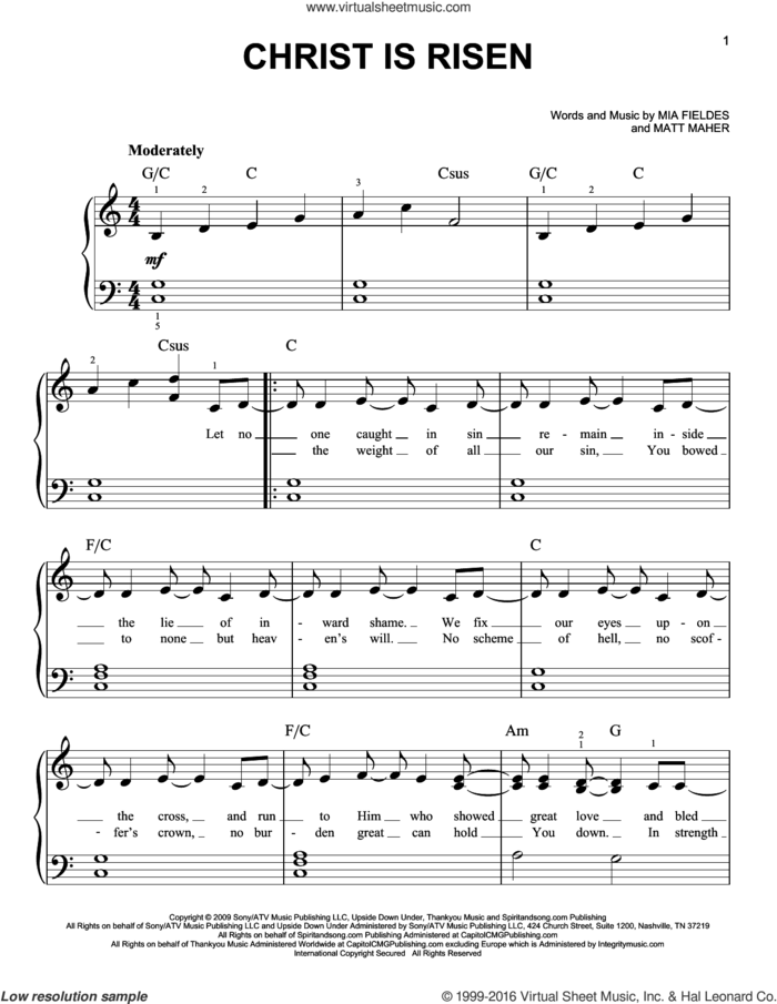 Christ Is Risen sheet music for piano solo by Matt Maher and Mia Fieldes, easy skill level