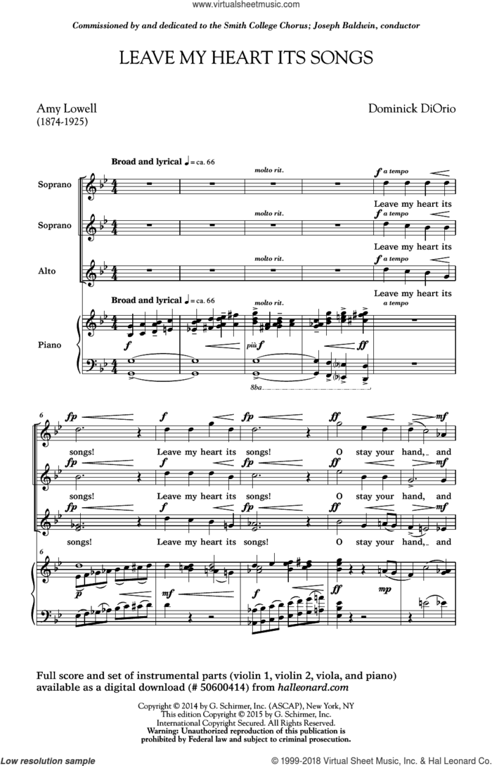 Leave My Heart Its Songs sheet music for choir (SSA: soprano, alto) by Dominick Diorio and Amy Lowell, intermediate skill level
