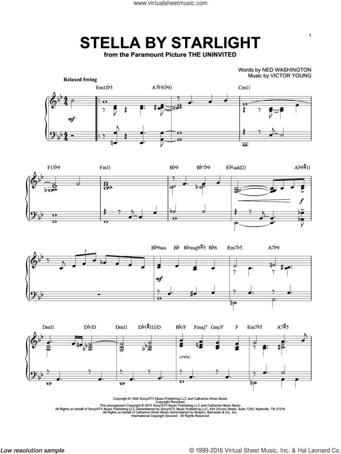 Stella By Starlight [Jazz version] (arr. Brent Edstrom) sheet music for piano solo by Ray Charles, Ned Washington and Victor Young, intermediate skill level