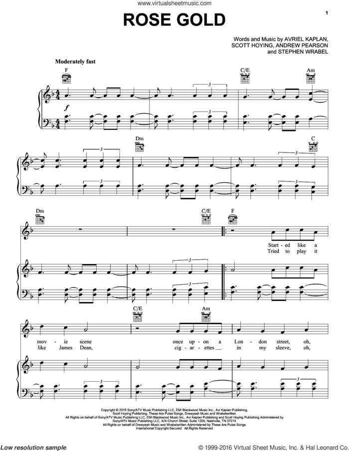 Rose Gold sheet music for voice, piano or guitar by Pentatonix, Andrew Pearson, Avriel Kaplan, Scott Hoying and Stephen Wrabel, intermediate skill level