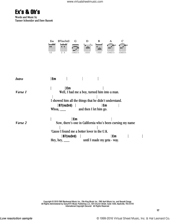 Ex's and Oh's sheet music for guitar (chords) by Elle King, Dave Bassett and Tanner Schneider, intermediate skill level