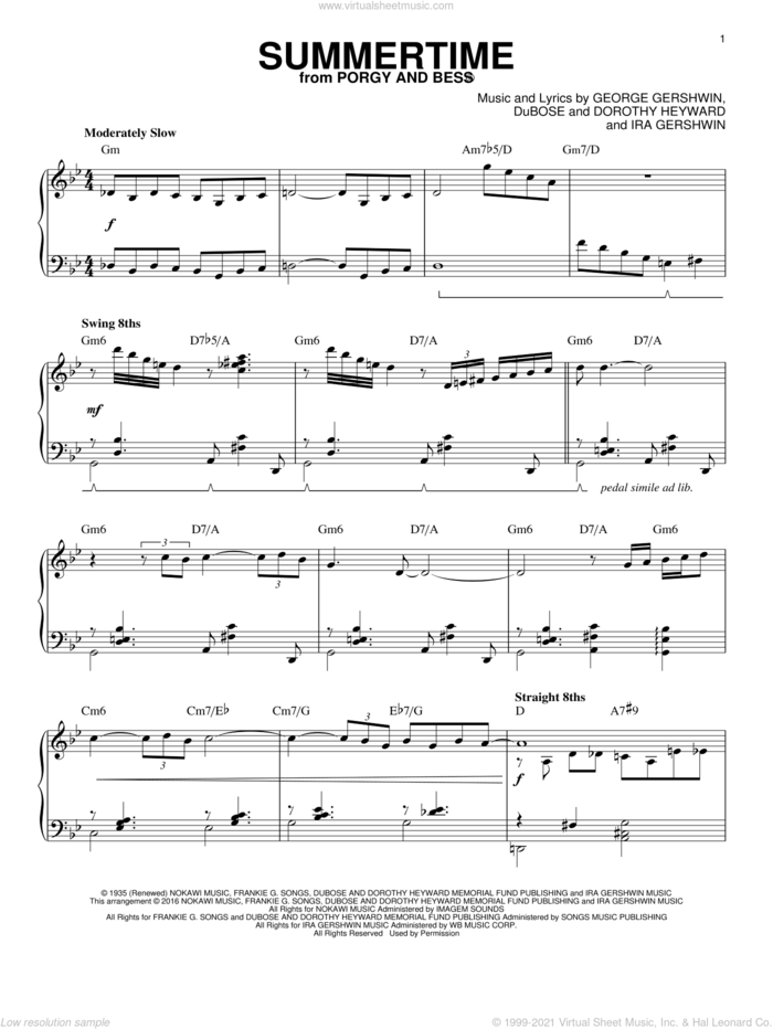 Summertime (arr. Brent Edstrom) sheet music for piano solo by Charlie Parker, Dorothy Heyward, DuBose Heyward, George Gershwin and Ira Gershwin, intermediate skill level