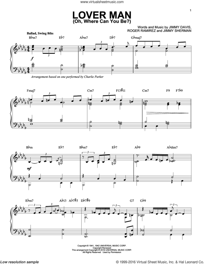 Lover Man (Oh, Where Can You Be?) (arr. Brent Edstrom) sheet music for piano solo by Charlie Parker, Billie Holiday, Jimmie Davis, Jimmy Sherman and Roger Ramirez, intermediate skill level