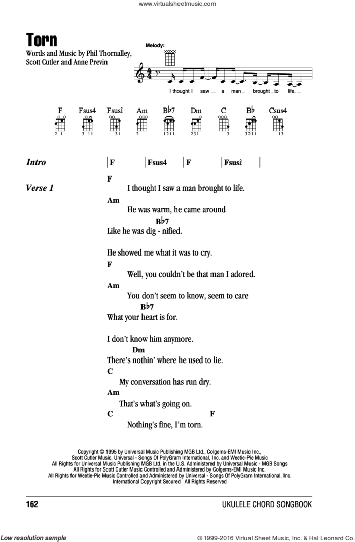Torn sheet music for ukulele (chords) by Natalie Imbruglia, Anne Previn, Phil Thornalley and Scott Cutler, intermediate skill level