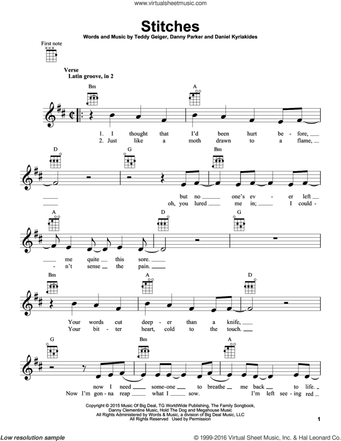 Stitches sheet music for ukulele by Shawn Mendes, Daniel Kyriakides, Danny Parker and Teddy Geiger, intermediate skill level