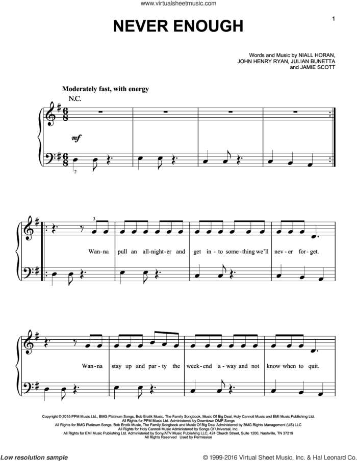 Never Enough sheet music for piano solo by One Direction, Jamie Scott, John Henry Ryan, Julian Bunetta and Niall Horan, easy skill level