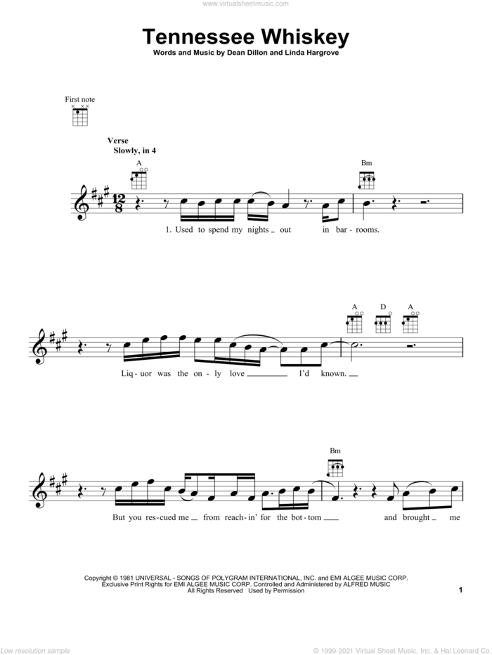 (Smooth As) Tennessee Whiskey sheet music for ukulele by Chris Stapleton, George Jones, Dean Dillon and Linda Hargrove, intermediate skill level