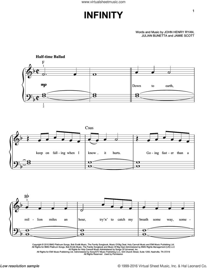 Infinity sheet music for piano solo by One Direction, Jamie Scott, John Henry Ryan and Julian Bunetta, easy skill level